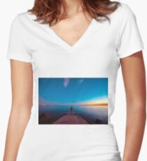 Sunset at the sea, Trieste Women's Fitted V-Neck T-Shirt
