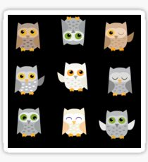 Cute owls on a black background Sticker