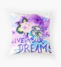Live Your Dreams Abstract Rose Art Throw Pillow