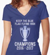 Chelsea Premier Champions 2016 2017 Women's Fitted V-Neck T-Shirt
