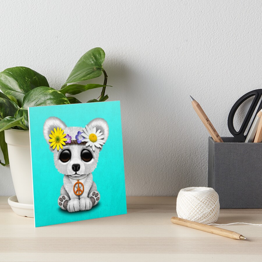 Cute Baby Eisbär Cub Hippie Galeriedruck