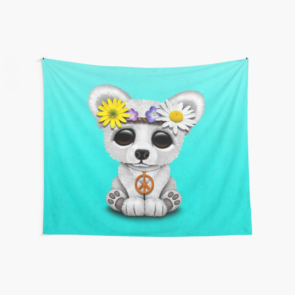 Cute Baby Eisbär Cub Hippie Wandbehang