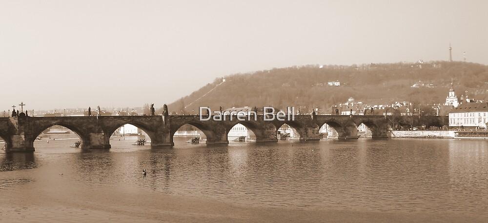 Sepia Prague St Charles Bridge by Darren Bell