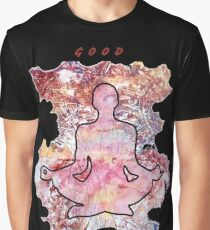MEDITATION GOOD VIBES LOTUS POSITION Graphic T-Shirt