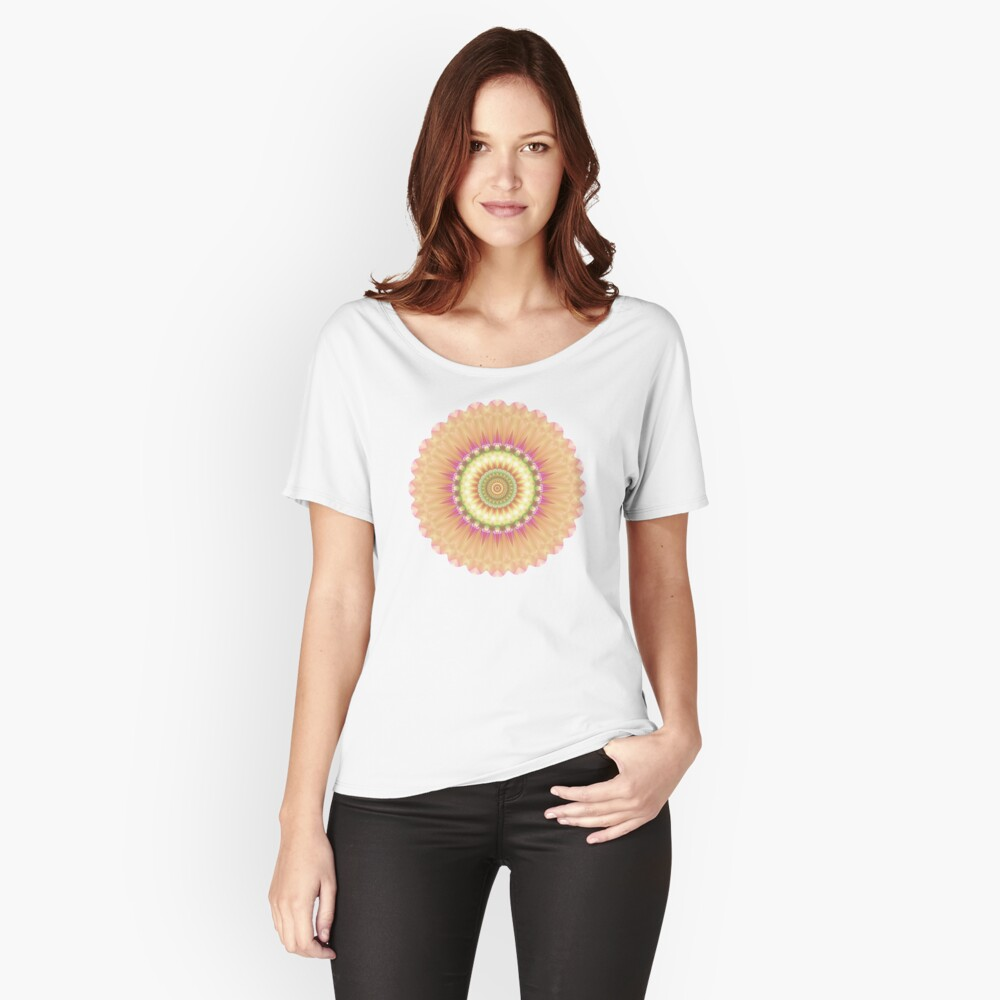 Beauty Mandala 01 in Pink, Yellow, Green and White Women's Relaxed Fit T-Shirt Front