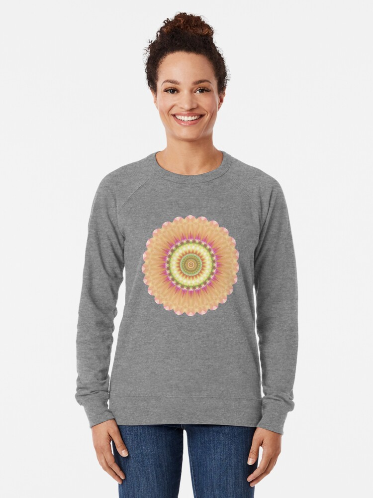 Alternate view of Beauty Mandala 01 in Pink, Yellow, Green and White Lightweight Sweatshirt
