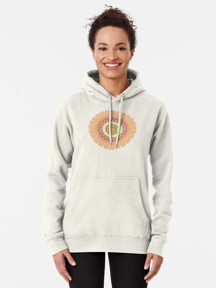 Alternate view of Beauty Mandala 01 in Pink, Yellow, Green and White Pullover Hoodie