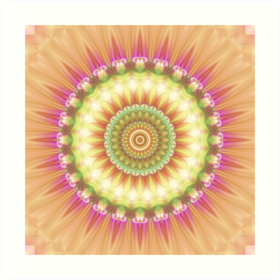 Beauty Mandala 01 in Pink, Yellow, Green and White by Kelly Dietrich