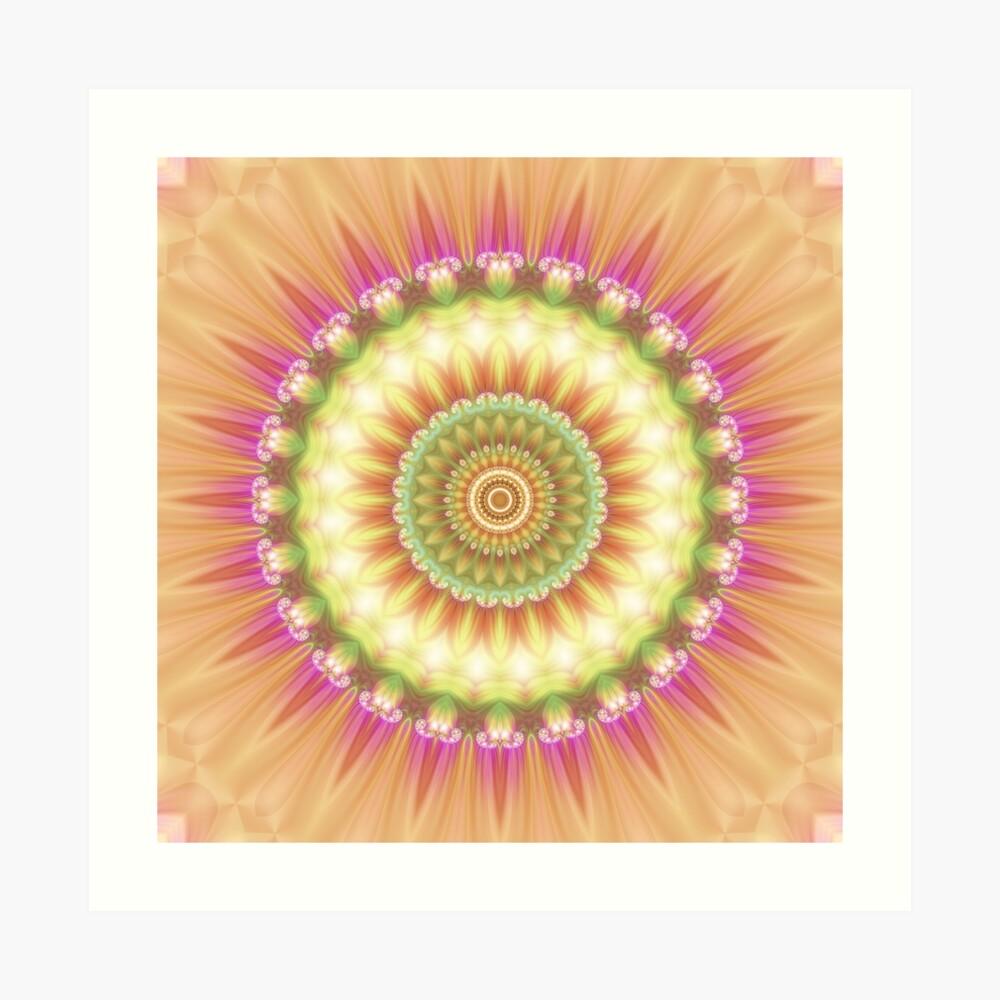 Beauty Mandala 01 in Pink, Yellow, Green and White Art Print