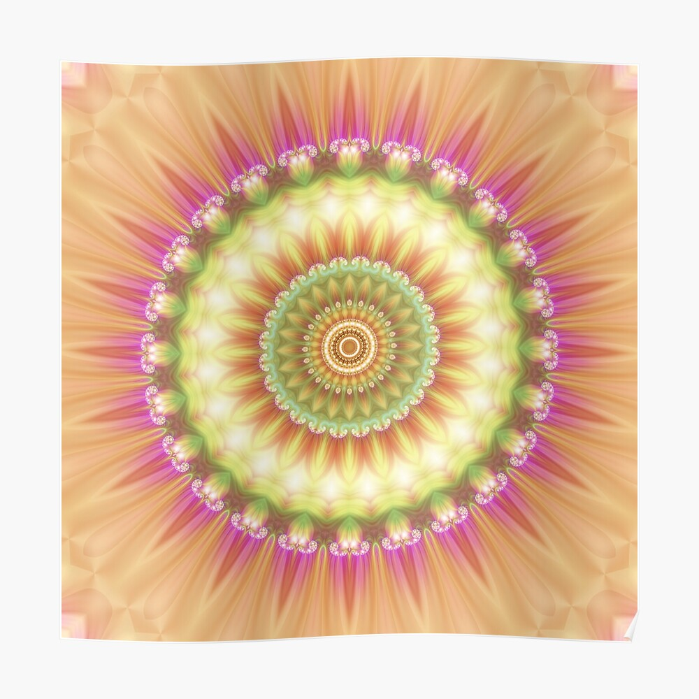 Beauty Mandala 01 in Pink, Yellow, Green and White Poster