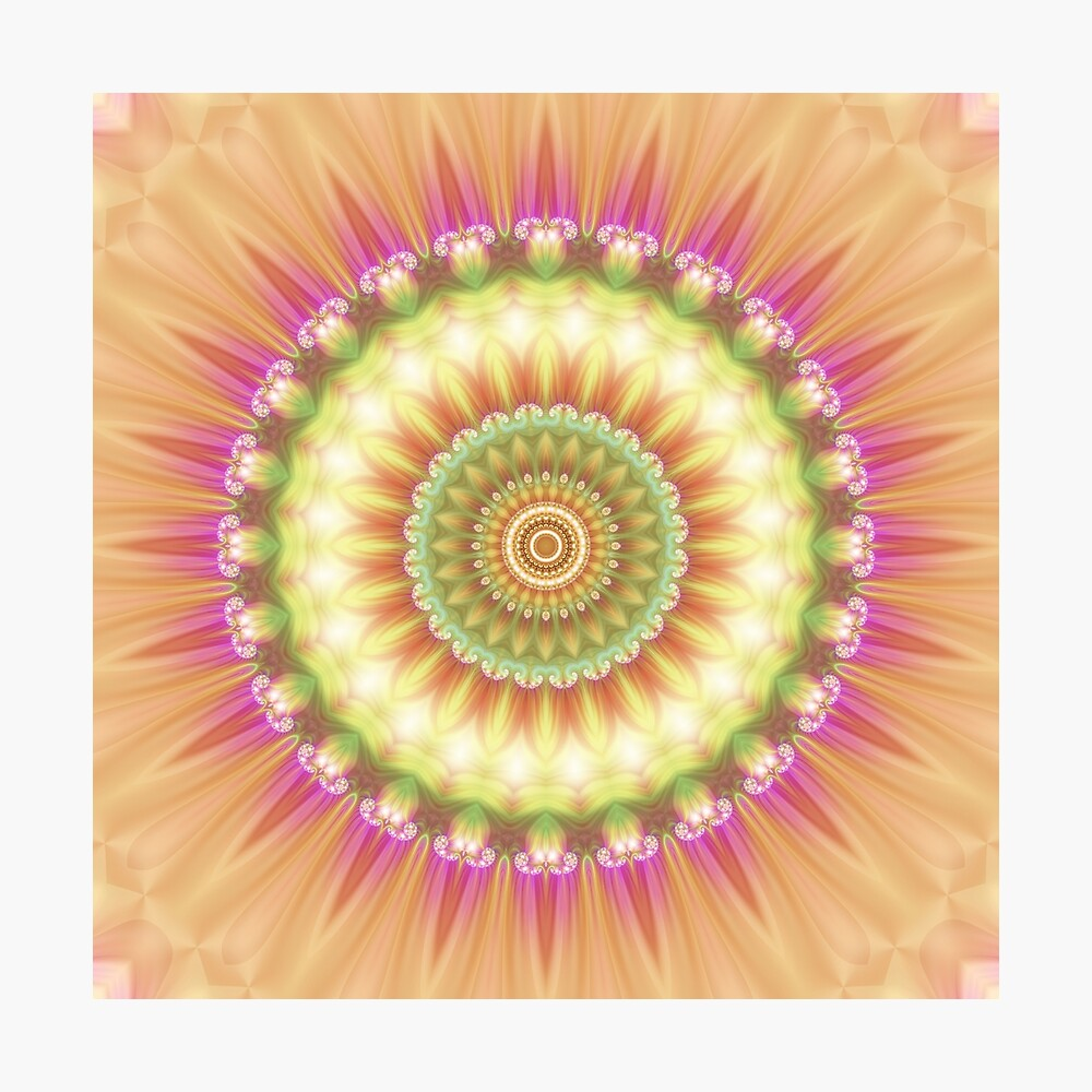 Beauty Mandala 01 in Pink, Yellow, Green and White Photographic Print