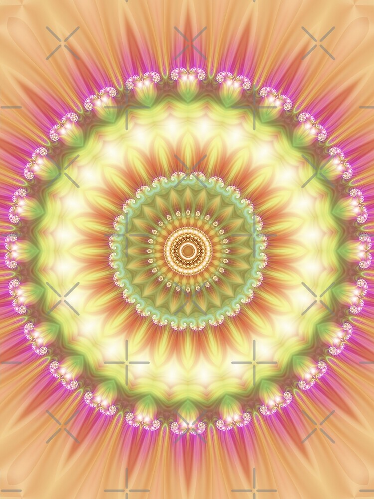 Beauty Mandala 01 in Pink, Yellow, Green and White by kellydietrich
