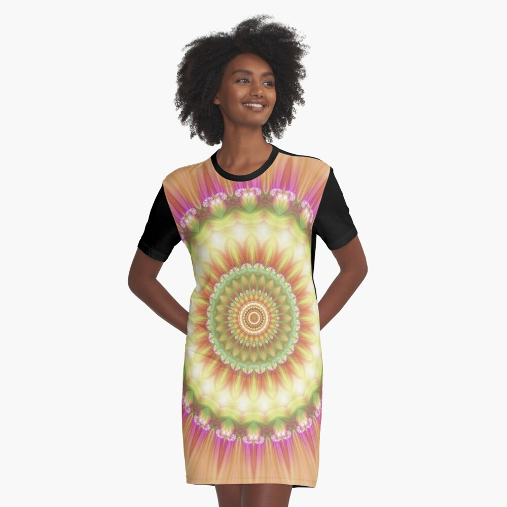 Beauty Mandala 01 in Pink, Yellow, Green and White Graphic T-Shirt Dress Front