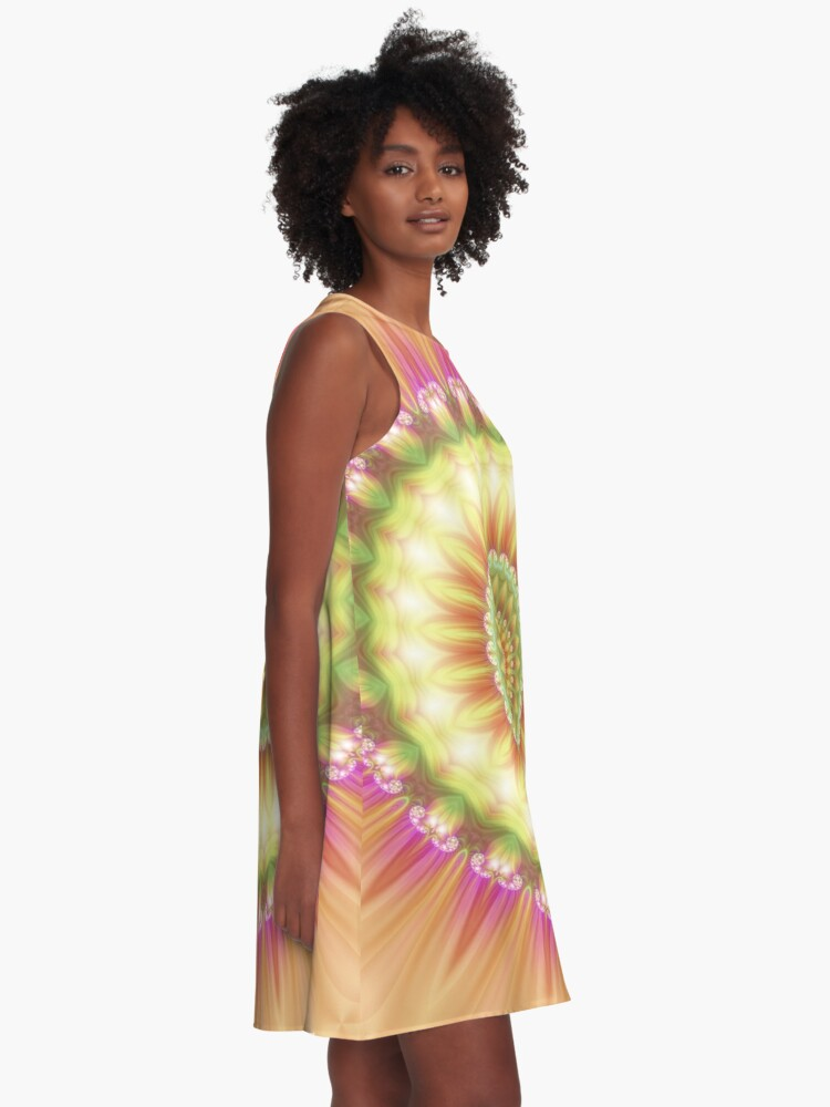 Alternate view of Beauty Mandala 01 in Pink, Yellow, Green and White A-Line Dress