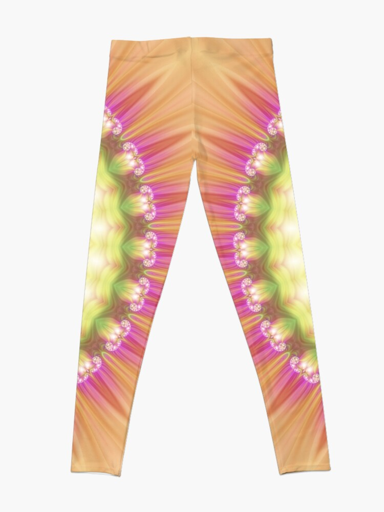 Alternate view of Beauty Mandala 01 in Pink, Yellow, Green and White Leggings