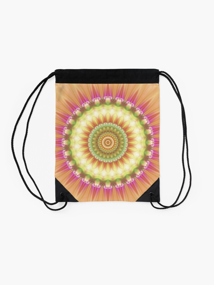 Alternate view of Beauty Mandala 01 in Pink, Yellow, Green and White Drawstring Bag