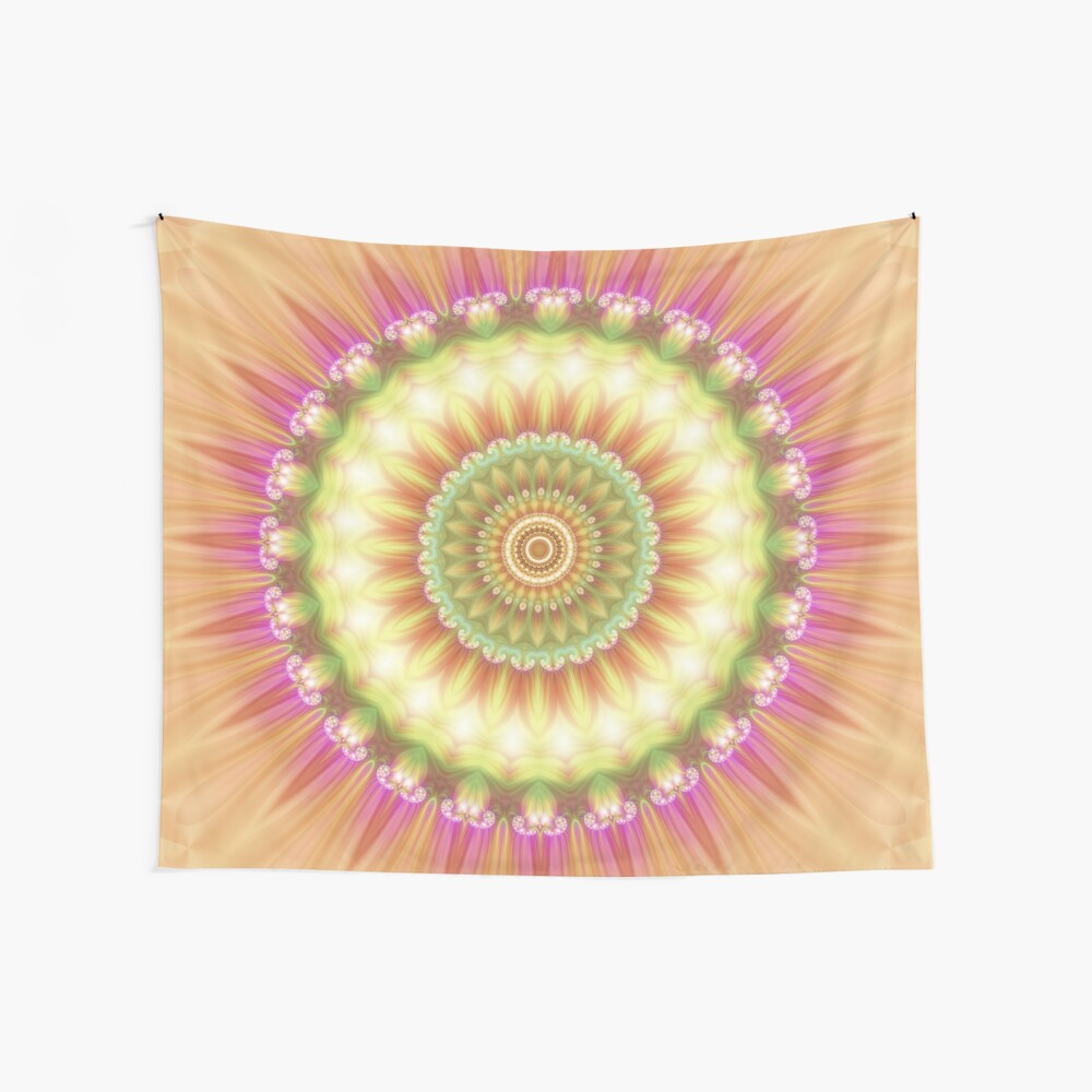 Beauty Mandala 01 in Pink, Yellow, Green and White Wall Tapestry