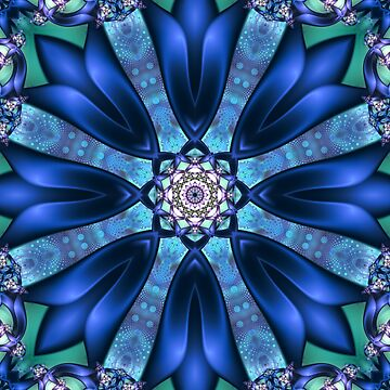 Intertwining Mandala in Blue, Turquoise and Purple by kellydietrich