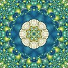 Poseidon's Rest Mandala in Blue, Green, Turquoise, Lime and White by Kelly Dietrich