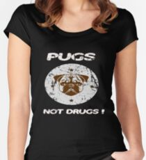 Pugs Not Drugs Funny Pug Lovers Retro Vintage Tee Women's Fitted Scoop T-Shirt