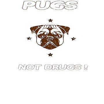 Pugs Not Drugs Funny Pug Lovers Retro Vintage Tee by Gavinstees