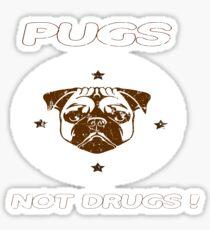 Pugs Not Drugs Funny Pug Lovers Retro Vintage Tee Sticker