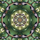 Mystery Mandala in Green, Yellow, Bronze, and Purple by Kelly Dietrich