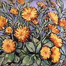 "Evening sunshine (marigolds). Oil on linen on board 16x14"" by Elizabeth Moore Golding"