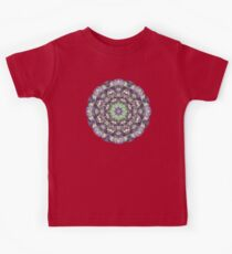 Fractal Ribbon Mandala in Green, Pink, Purple, and Yellow Kids Tee