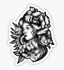 Sun and Flower Woman's Face Sticker