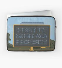 0113 Prepare your property blue LED warning sign Laptop Sleeve