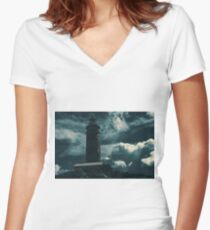 Cape Moreton Lighthouse on the North part of Moreton Island. Abstract lighting. Women's Fitted V-Neck T-Shirt