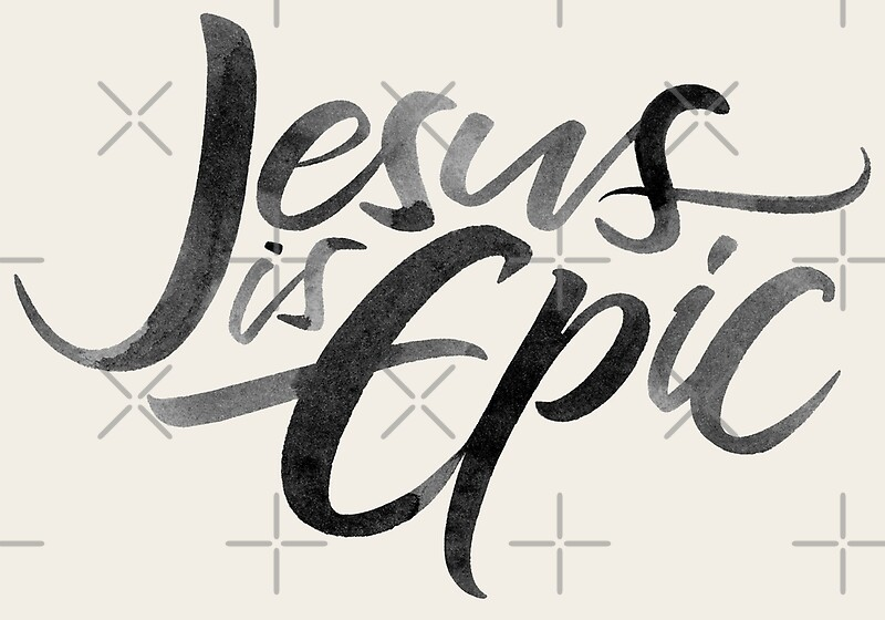 Jesus is epic brush lettering calligraphy christian religion