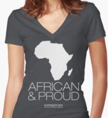 African & proud (white) Women's Fitted V-Neck T-Shirt