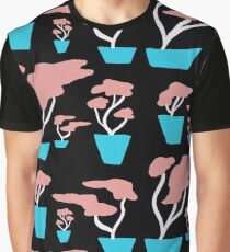 Pink Bonsai in Blue Vases Graphic T-Shirt