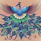 Peacock fly, in a decorative style by Jatmika Jati