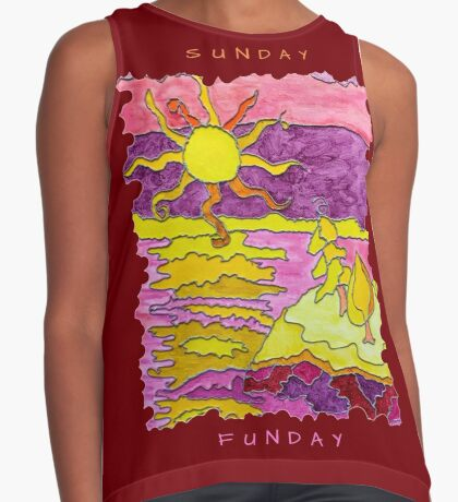 OCEAN ART SUNSET FUNNY SUNDAY FUNDAY  Contrast Tank