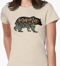 Mama Bear with Wildflowers Hand Lettered Illustration Women's Fitted T-Shirt