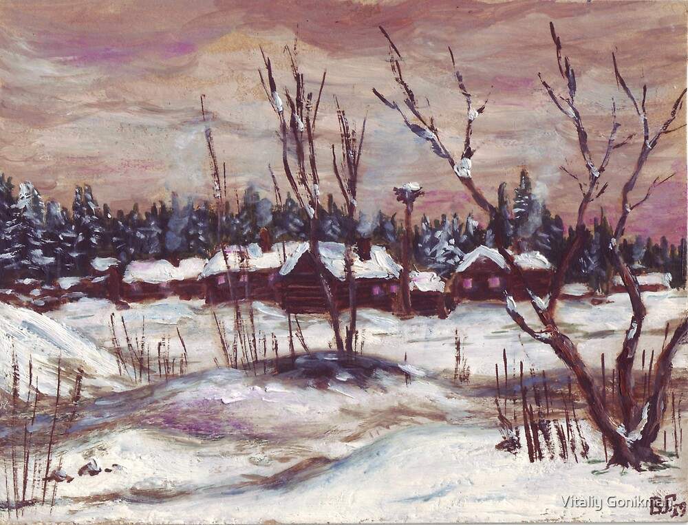 Russian village in winter time oil painting by Vitaliy Gonikman