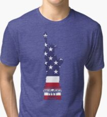 Lady Liberty in Red, White and Blue Tri-blend T-Shirt
