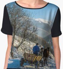 winter rural traffic in mountains Chiffon Top