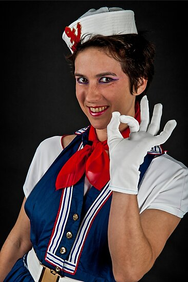 Fancy dress female sailor OK gesture  by PhotoStock-Isra