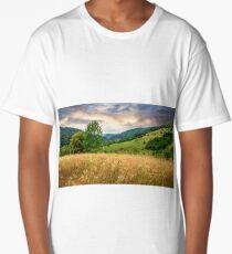 village on hillside meadow Long T-Shirt