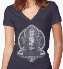 Gautama Buddha White Halftone Women's Fitted V-Neck T-Shirt