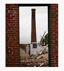 Smoke Stack in Rubble Photographic Print