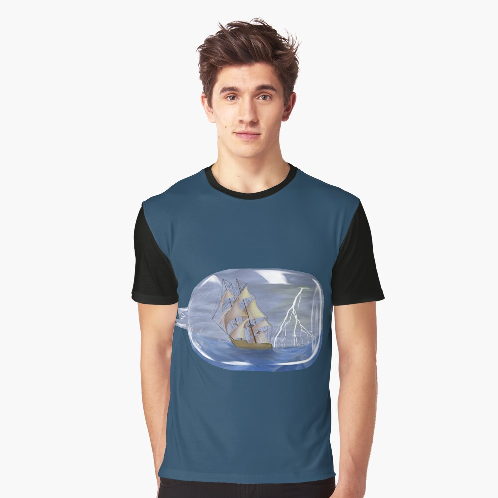 Ship in a storm Graphic T-Shirt Front