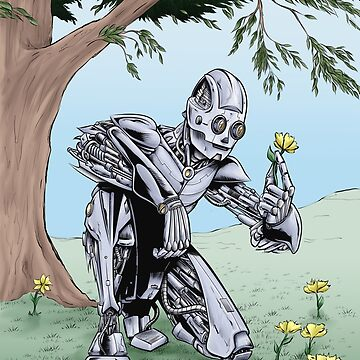 Robot admiring the Flowers by mrdenmac