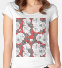 White roses watercolor pattern Women's Fitted Scoop T-Shirt