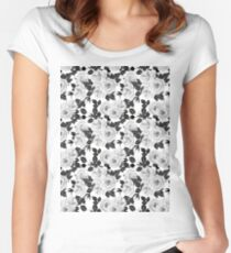 Wite roses watercolor pattern Women's Fitted Scoop T-Shirt