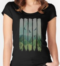 Eagles, Mountains, Grunge Landscape Women's Fitted Scoop T-Shirt